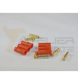 Connecteur or avec fiche en plastique 3.5mm (3 pins) M+F